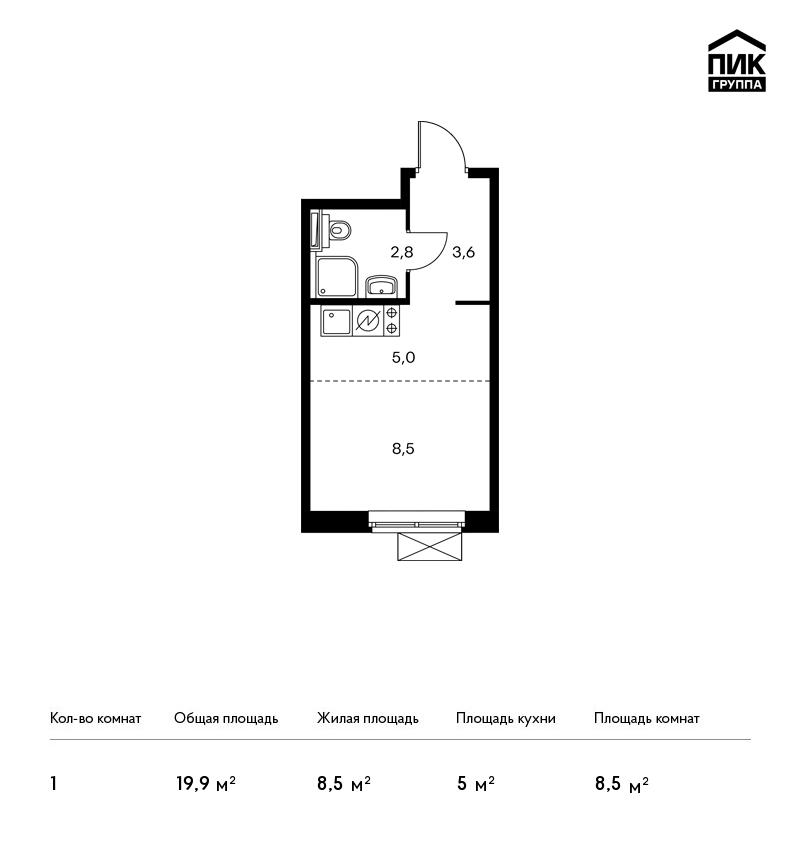 Продается 1-комнатная квартира, площадью 20.10 кв.м. Москва, улица Полярная