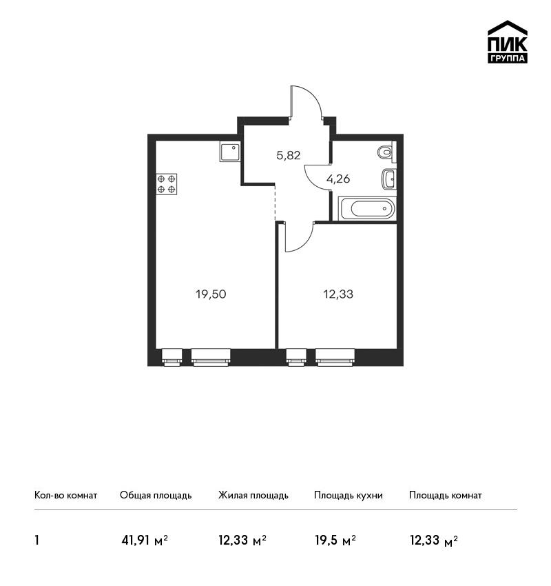 Продается 1-комнатная квартира, площадью 41.90 кв.м. Москва, Березовая аллея, дом 17к1