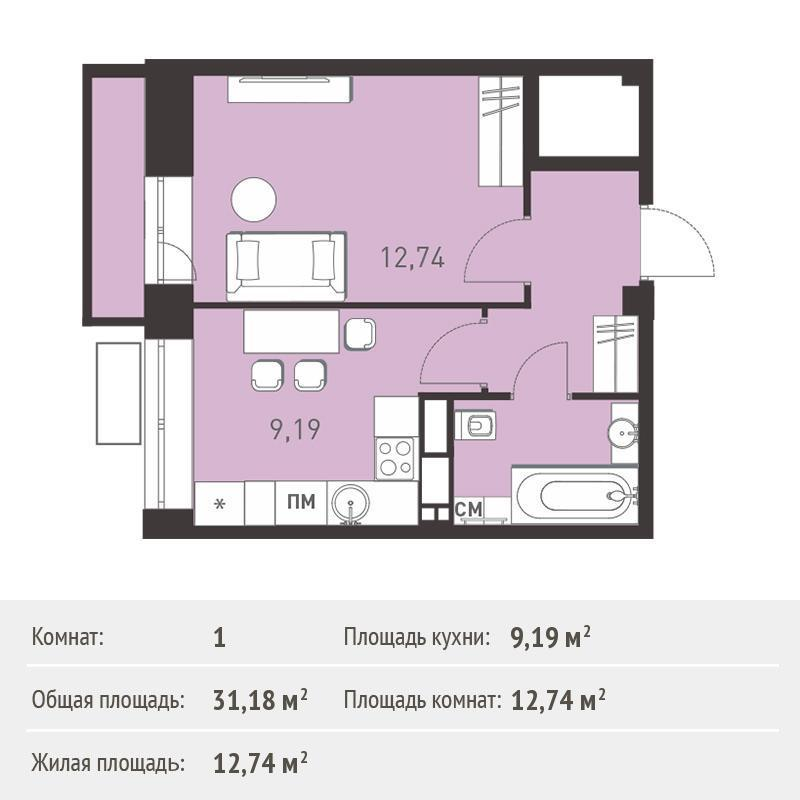 Продается 1-комнатная квартира, площадью 31.20 кв.м. Московская область, город Балашиха, микрорайон Железнодорожный, улица Калинина