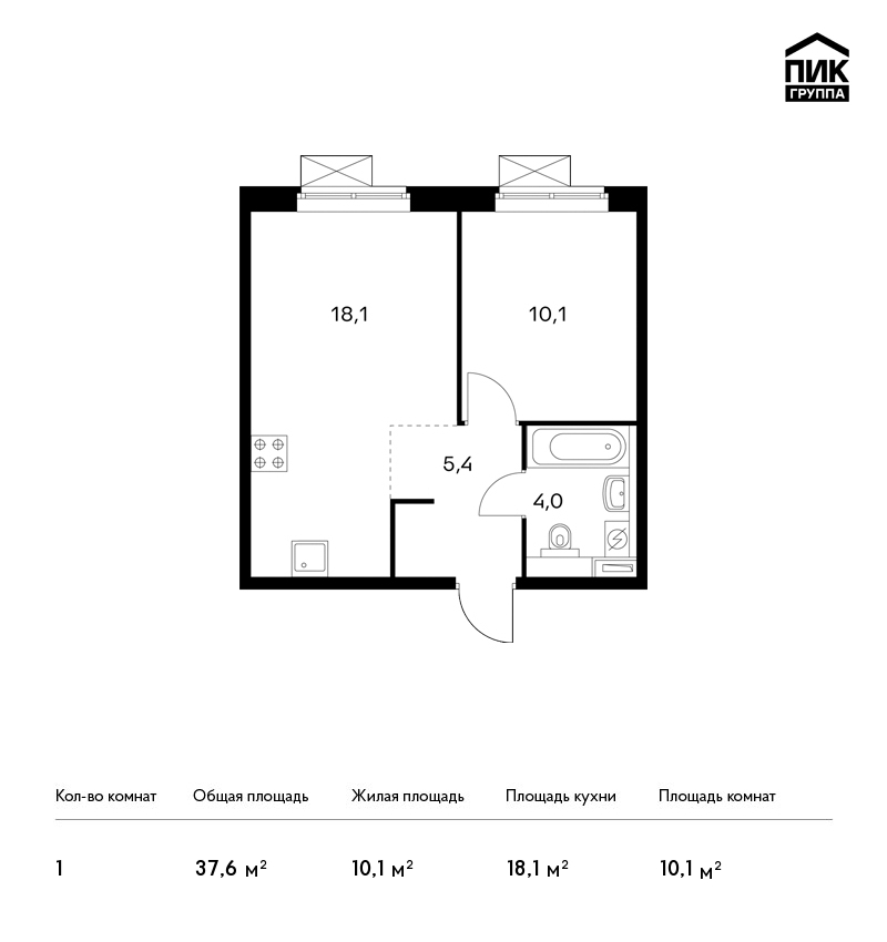 Продается 1-комнатная квартира, площадью 37.60 кв.м. Москва, проезд Ильменский, дом 17стр1