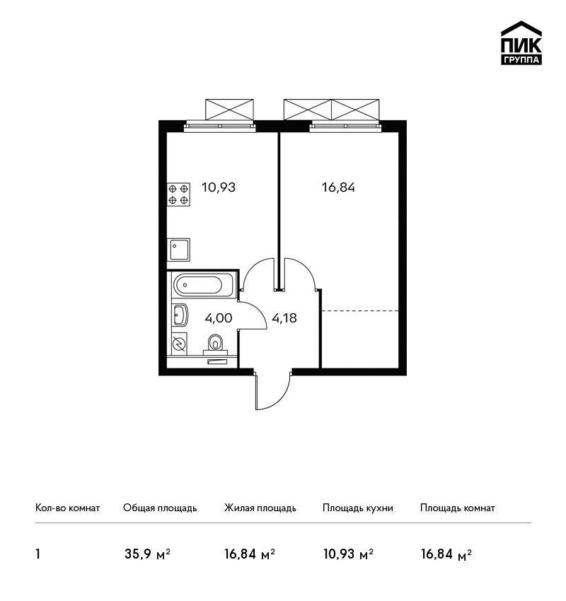 Продается 1-комнатная квартира, площадью 35.90 кв.м. Москва, улица Заречная, дом вл2/1