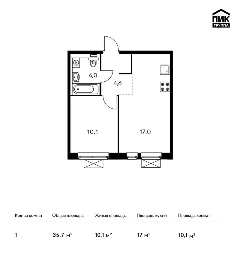 Продается 1-комнатная квартира, площадью 35.70 кв.м. Москва, Новорижское шоссе, дом ЖК Мякинино Парк