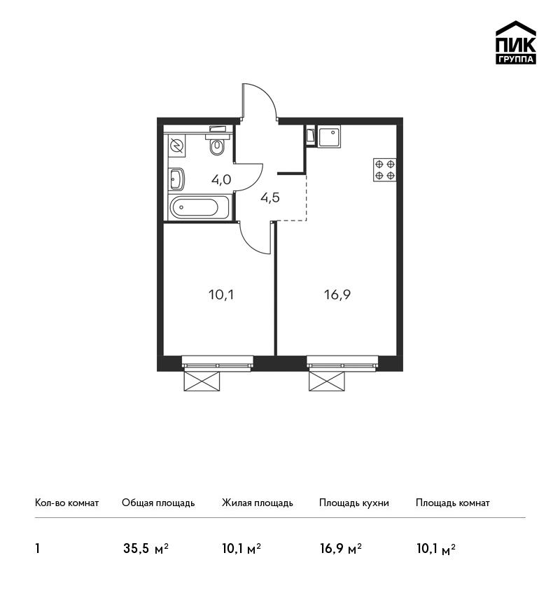 Продается 1-комнатная квартира, площадью 35.50 кв.м. Москва, улица Люблинская