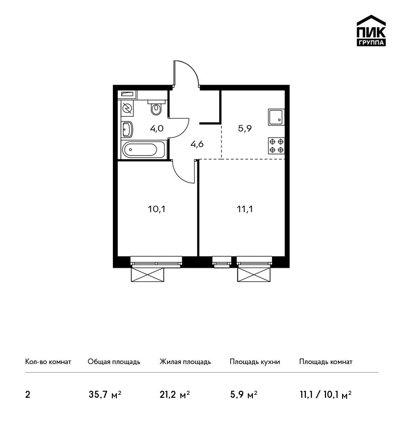 Продается 2-комнатная квартира, площадью 35.70 кв.м. Москва, Новорижское шоссе, дом ЖК Мякинино Парк