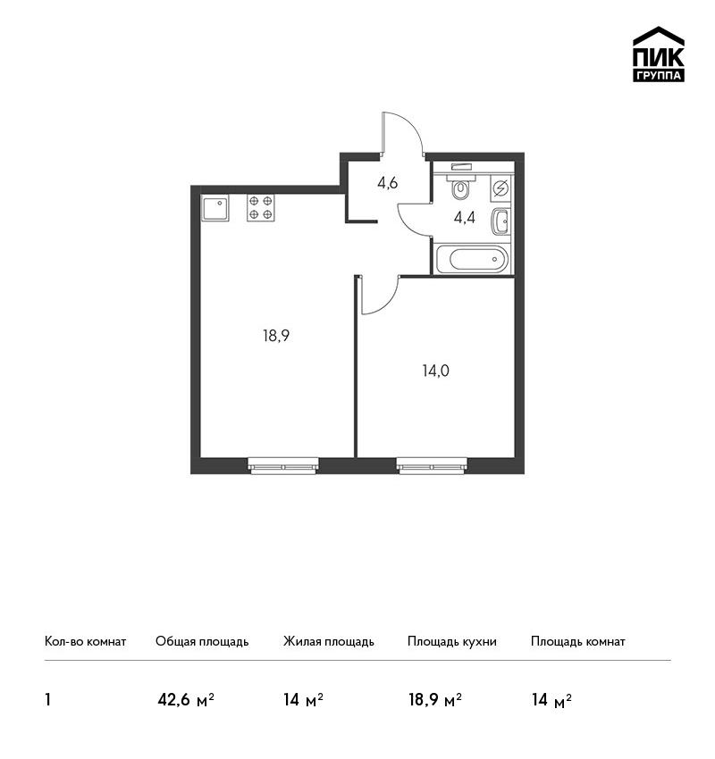 Продается 1-комнатная квартира, площадью 41.90 кв.м. Москва, улица Академика Павлова, дом 30
