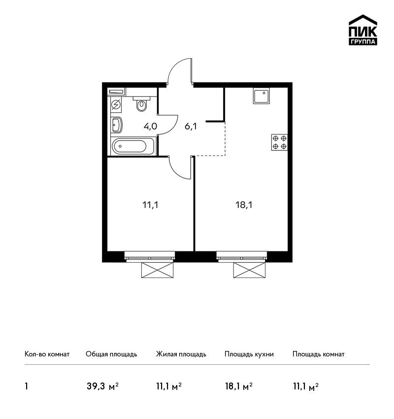 Продается 1-комнатная квартира, площадью 39.30 кв.м. Московская область, город Котельники, проезд Яничкин, дом 2