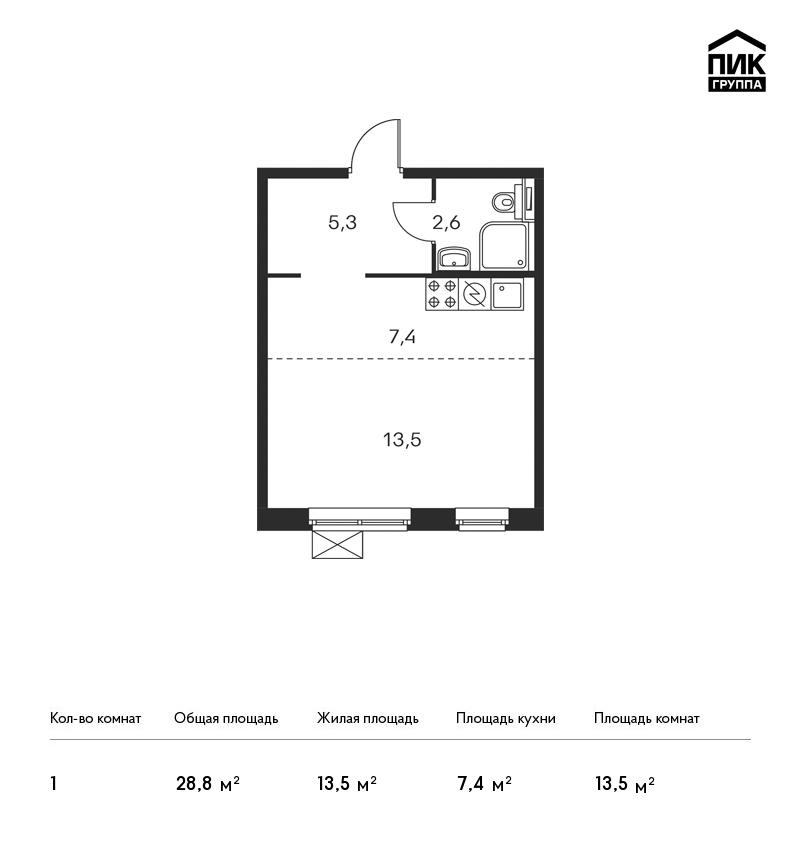 Продается 1-комнатная квартира, площадью 28.80 кв.м. Москва, улица Люблинская