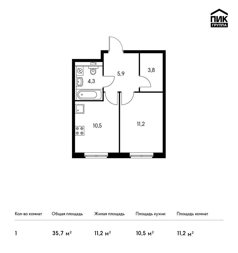 Продается 1-комнатная квартира, площадью 35.70 кв.м. Москва, улица Академика Павлова, дом 32
