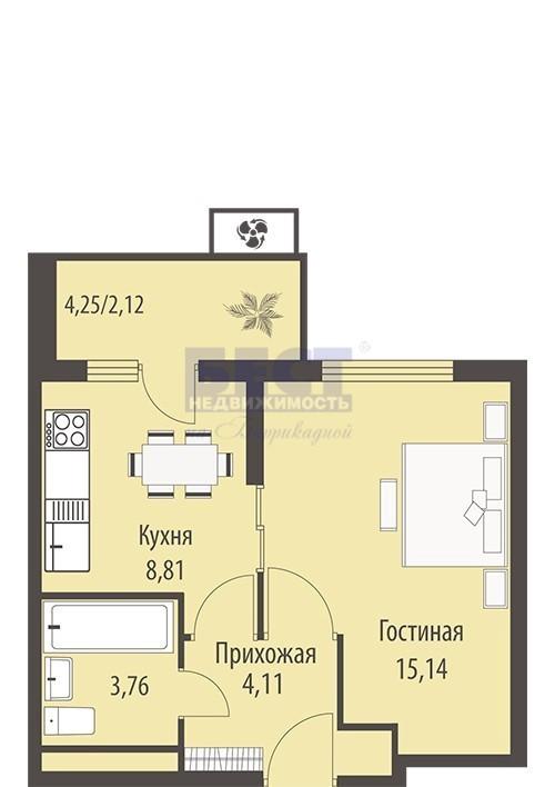 Продается 1-комнатная квартира, площадью 34.00 кв.м. Москва, улица Родниковая, дом 7стр145