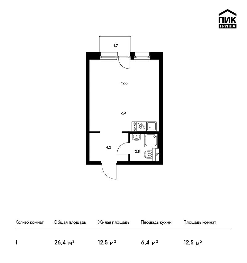 Продается 1-комнатная квартира, площадью 26.40 кв.м. Москва, улица Цимлянская, дом 3к1