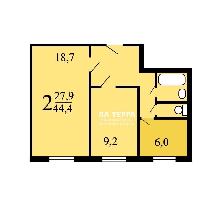 Продается 2-комнатная квартира, площадью 44.70 кв.м. Москва, проезд Борисовский, дом 22к1