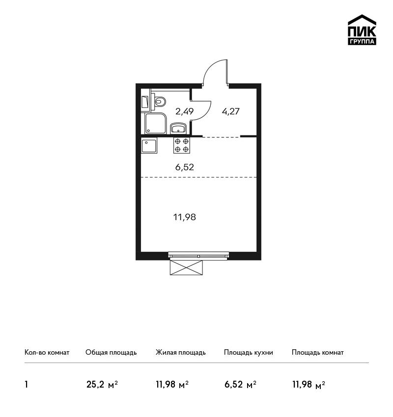 Продается 1-комнатная квартира, площадью 25.30 кв.м. Москва, улица Лобненская, дом 13Б