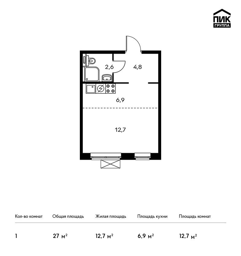 Продается 1-комнатная квартира, площадью 27.00 кв.м. Москва, Новорижское шоссе, дом ЖК Мякинино Парк