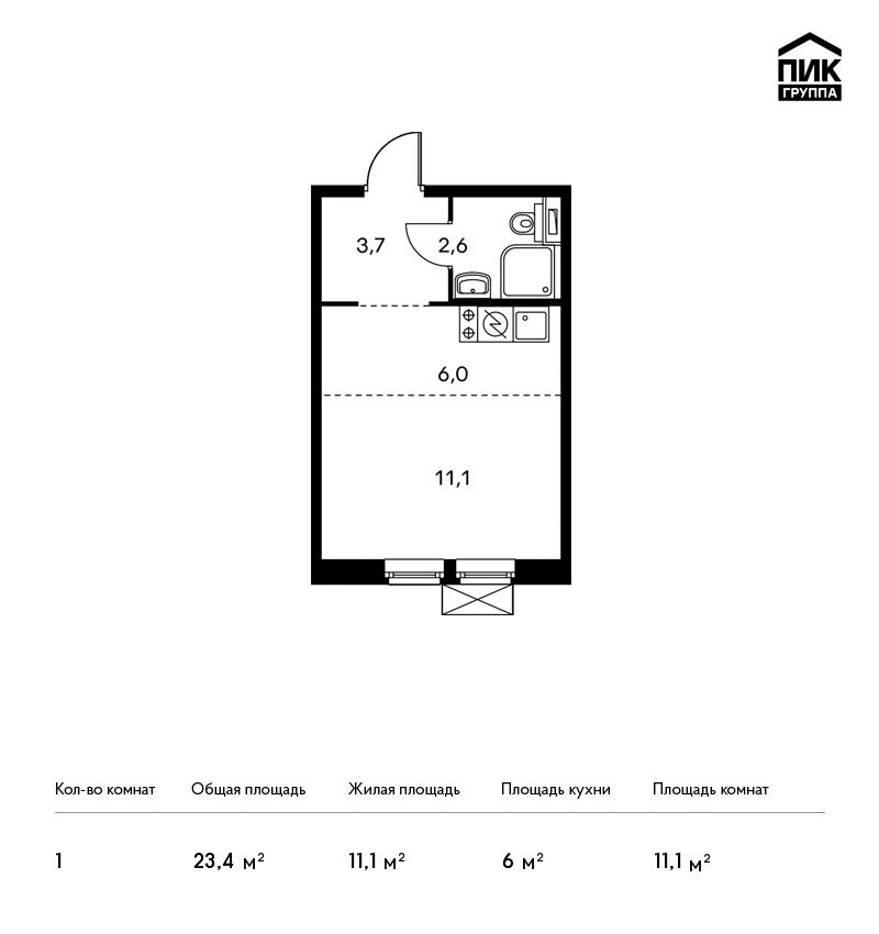 Продается 1-комнатная квартира, площадью 23.40 кв.м. Москва, Новорижское шоссе, дом ЖК Мякинино Парк